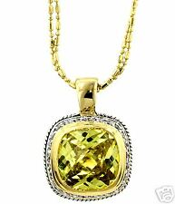 Designer Inspired Simulated  Peridot  &14K Yellow Gold Plated  Necklace