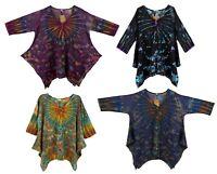 Hippies Long Sleeve tie dye top Bohemian hipster tunic/kaftan cocoon boho shirt