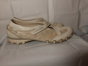Skechers Womens Slip On Shoes S21406  9 Leather Silver Stones Tan Mary Jane K461