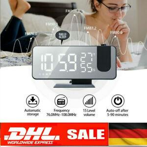 Radiowecker mit Projektion LED USB FM UKW Digital dimmbar Tischuhr Alarm Funkuhr