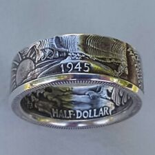 Retro Men 925 Silver Handmade Coin Vintage Morgan Carved Rings Jewelry Size 6-13