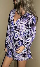 CHICOS Long Textured Ikat Print Tunic Blouse Shirt Top Sz 4 Fits 1X 2X to 3X