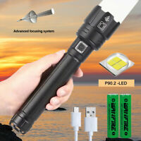 High Power 120000Lumens XHP90.2 Zoom Flashlight LED Rechargeable Torch Headlamp