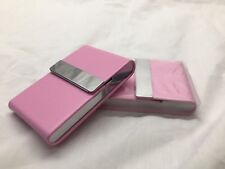 Stainless steel + PINK Faux Leather Cigarette Case Holder Pocket Box - 8113