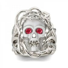 3PC Twist Round Excellent Red Diamond Scary Skull 14K Gold Ring For Halloween
