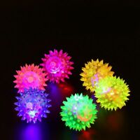 Play Squeaky Bell Rubber Fun Puppy LED Light Ball Toys Pet