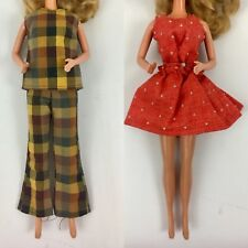 Lot of 2 Vintage Retro Mod Barbie Outfits Plaid Red Polka Dots Dress Ooak