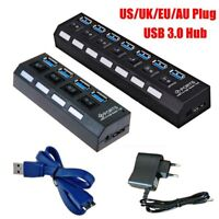 4/7 Ports USB 3.0 Hub 5Gbps High Speed On/Off Switches AC Power Adapter for PC +