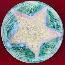 "Antique Etruscan Majolica Griffen, Smith & Hill Cauliflower Star Plate 8"""