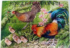FIJI BIRD STAMPS MINIATURE SHEET ROOSTER HEN JUNGLE FOWL OF FIJI BIRDS FARM