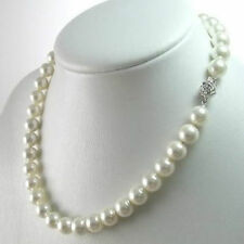 "Round Beads Flower Clasp Necklace 18"" 8mm White South Sea Shell Pearl Gemstones"