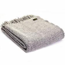 Tweedmill Textiles 100 Wool Sofa Bed Throw Blanket British Wafer Silver Grey