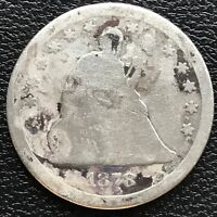 1878 CC Seated Liberty Quarter Dollar 25c RARE Date Circulated #13272
