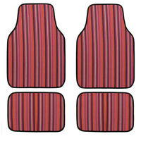 Universal Ethnic Car Floor Mats Fashion Elastic Linen For SUV Van Sedan 4 pcs