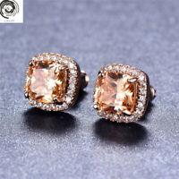 Elegant 18K Rose Gold Princess Cut Champagne Topaz Stud Earrings Square Ear Stud