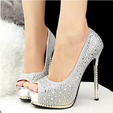 Peep Toe High Heels Silver Glitter Platform Pump Wedding Shoes SZ 5-12 Women