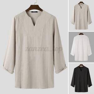 Mens Kurta Loose Shirt Causal Tunic Ethnic Long Sleeve Shirt Linen Tops Caftan