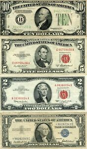 1934-A $10, 1953-A $5, 1963 $2 & 1957 $1 STAR COOL NOTE GROUP!!!!..STARTS@ 2.99