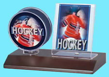 ULTRA PRO DARK WOOD BASE HOCKEY PUCK & CARD HOLDER DISPLAY NEW Case Stand