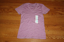 New Womens EDDIE BAUER Short Sleeve Pink Gray Striped V-Neck Shirt Size S Small