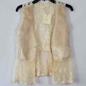 A'REVE Faux Fur and Lace Vest Women's Size M