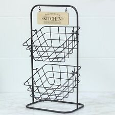 2 Tier Metal Wire Fruit Vegetable Basket Bowl Rack Stand Kitchen Storage Unit