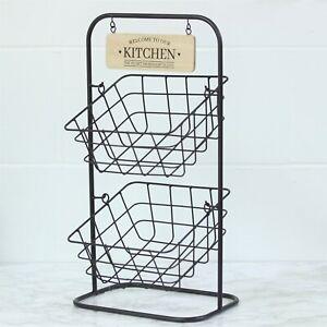 2 Tier Metal Wire Fruit Vegetable Basket Bowl Rack Stand Kitchen Storage Unit