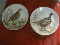 """Coppia PIATTI INGLESI da Appendere WILD BIRDS """"Partridge"""" """"Red Grouse"""" d 26 cm"""