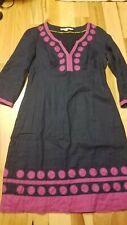 GUC Boden Linen Dress Tunic Size US 6 Navy Purple Dots 3/4 sleeve