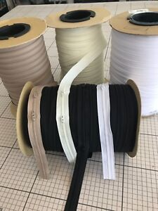 Cream, Fawn , White or Black zips by the metre