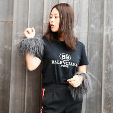 Mongolian Lamb Fur Slap On Cuff Bracelet In Dark Grey