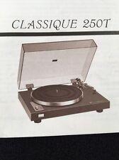 Sansui Classique 250T Turntable Original OWNERS MANUAL 10 Pages