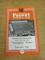 22/04/1961 Nottingham Forest v Leicester City  (Score Noted On Cover). This item
