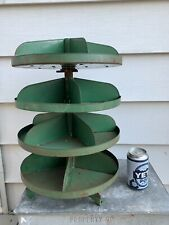 Vintage Rotating Hardware Store Industrial Parts Bin Countertop Storage Green