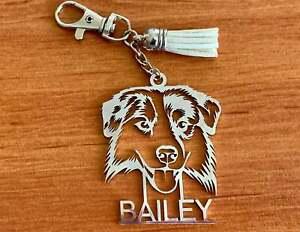Australian Shepherd Kaychain Personalized Keyring Dog Charm Custom Any Name Tags