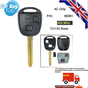 Remote Car Key Fob 2 Button 433MHz 4C for Toyota RAV4 Corolla Yaris P/N:60081