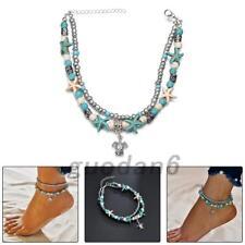 Boho Anklet Ankle Bracelet Turtle Beach Silver Turquoise Festival Bohemian