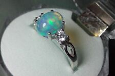 Silver Ring 925 with Ethiopian welo opal and zircon - size 8 usa