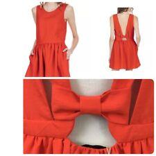 THE KORNER Women's Fashion Dress Cutout Bowtie XS Pink Sleeveless Evening Mini