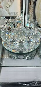 Stunning Crushed Diamond Crystal Silver  Fruits Figurine Rotatable Stand.