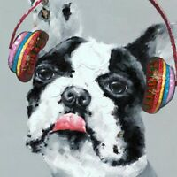 Dog Portrait Painting Printing On Canvas Dog with Headphones Colorful Modern Art