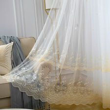 Guipure Floral Mesh Curtain Fabric Voile Gauze Window Panel Drape Divider White