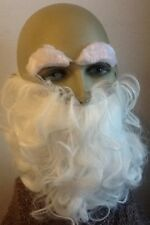 WHITE CURLY BEARD & EYEBROW SET. FANCY DRESS ACC. WIZARD, GNOME,OLD, UK SELLER