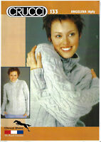 Women's Cable Aran Sweater Crucci 133 knitting pattern 10 ply yarn winter