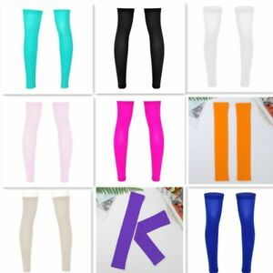 Mens Thigh High Socks Stocking Full Leg Sports Sleeve Footless Knee Brace Calf