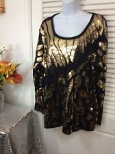 JOAN BOYCE PLUS SIZE SEQUINED EVENING TOP SIZE 1X BLACK GOLD LEAVES