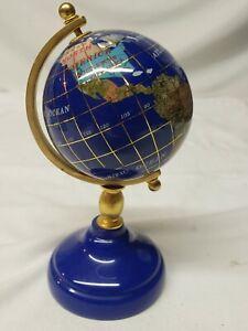 """precious stone 6"""" desktop globe world brass spins elements"""