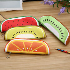 FT- AB_ GC- Kids Cute Fruit Kiwi Orange Pencil Case Bag Box Pouch Zipper Station