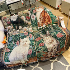 125*150cm/49*59inch Cat Nap Blanket Tapestry Carpet Country Mat Home Decoration