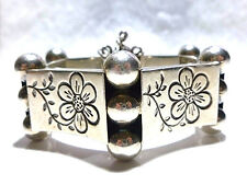 OLD MADE IN MEXICO MEXICAN STERLING SILVER FLOWER FLORAL BALL PANEL BRACELET